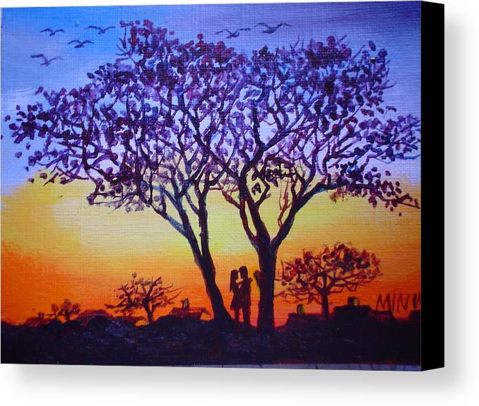 Love Canvas Print featuring the painting Love Under The Tree by Min Wang