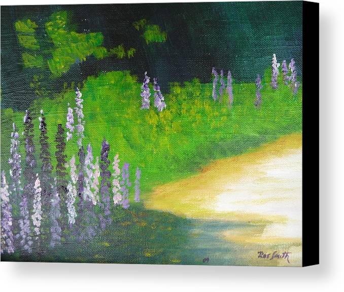 Lupens Canvas Print featuring the painting Lupens On Buccaneer Road by Rae Smith