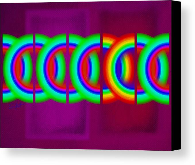 Abstract Canvas Print featuring the painting Magenta Olympic Games by Charles Stuart