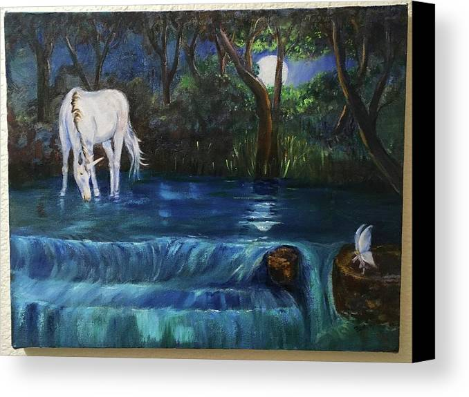 Unicorn Canvas Print featuring the painting Magic Night by Sharon Beadles