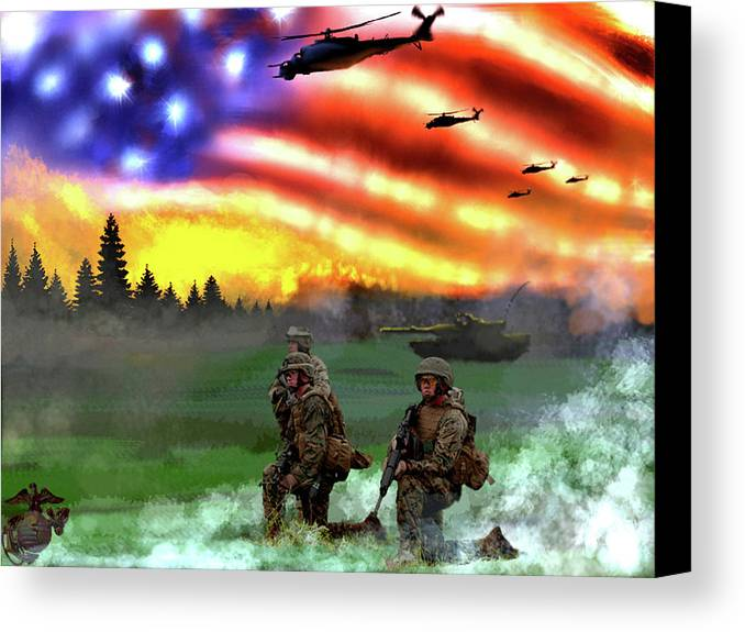 Marines Canvas Print featuring the digital art Marines by Josh Burns