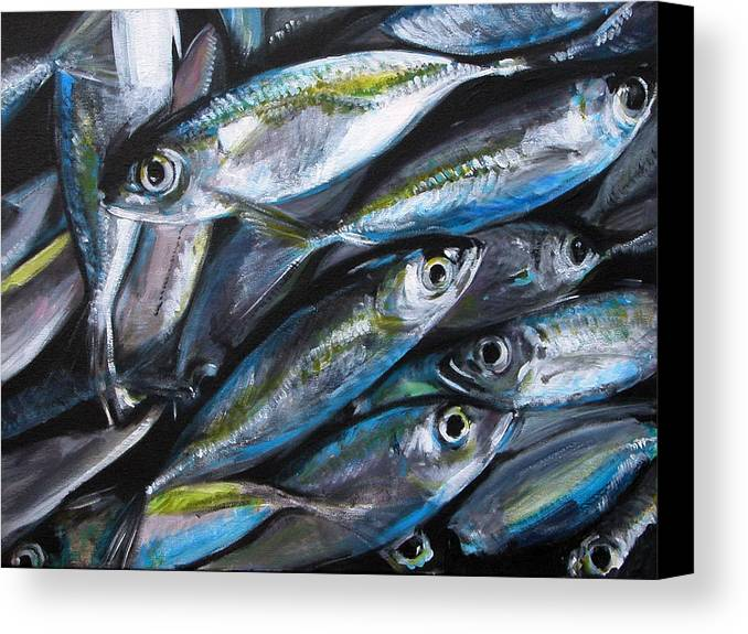 Fish Canvas Print featuring the painting Market Day by Fiona Jack