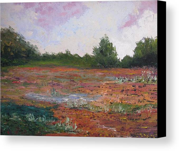 Landscape Canvas Print featuring the painting Meadow Creek - Late Summer by Belinda Consten