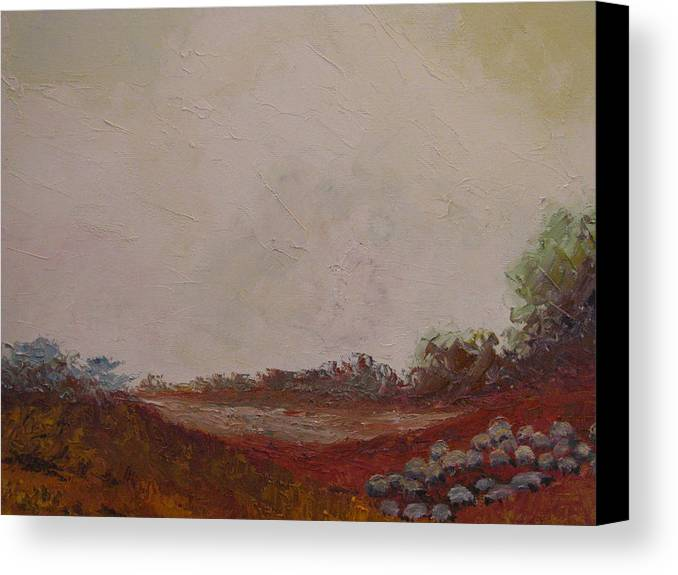 Landscape Canvas Print featuring the painting Meadow With Grazing Sheep by Belinda Consten