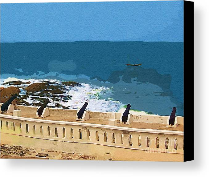 Cannons Canvas Print featuring the painting Memories Of War by Deborah Selib-Haig DMacq