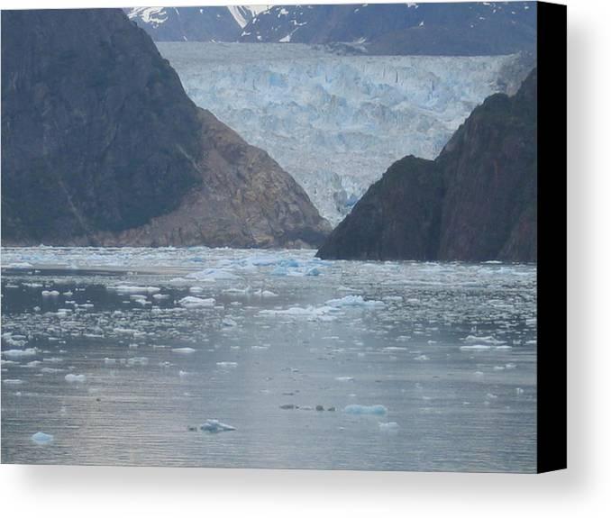 Canvas Print featuring the digital art Mendenhall Glacier Alaska by Barb Morton