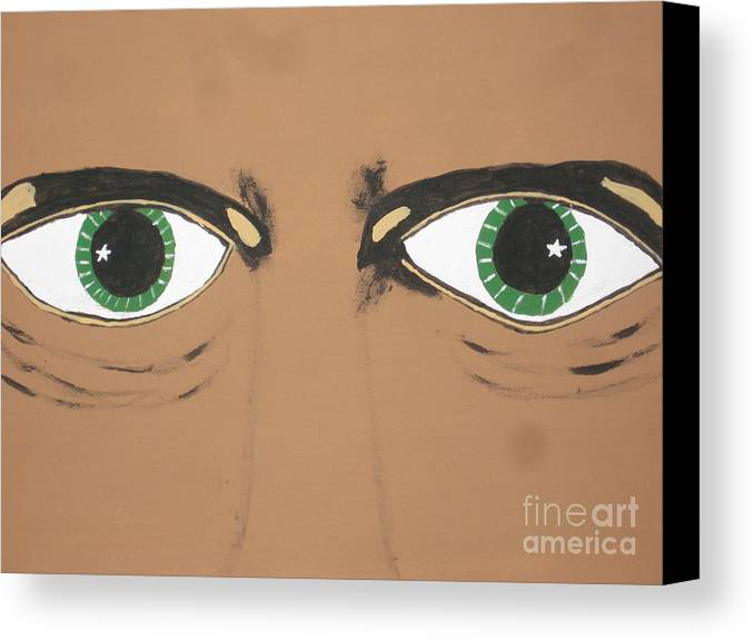 Scary Canvas Print featuring the painting Mesmerized Eyes by Jeffrey Koss