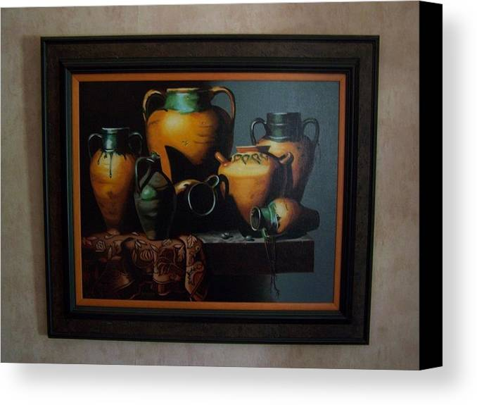 Stilllife Painting Canvas Print featuring the painting Mexican Pottery by Robert E Gebler