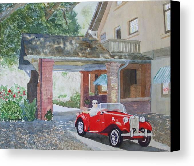 Mg Canvas Print featuring the painting Mg At Marston House by Ally Benbrook
