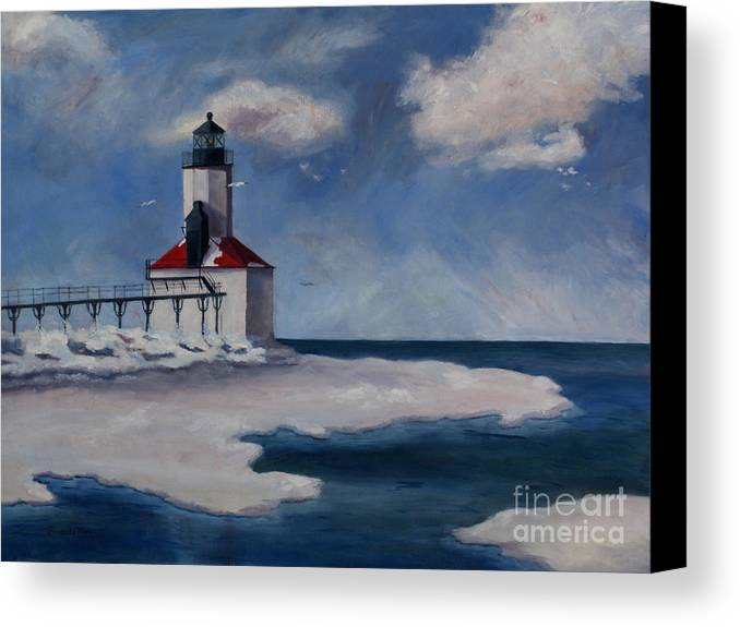 Lighthouse Canvas Print featuring the painting Michigan City Light by Brenda Thour