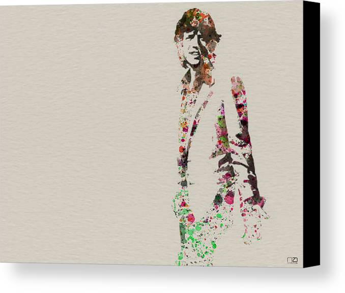 Mick Jagger Canvas Print featuring the painting Mick Jagger Watercolor by Naxart Studio