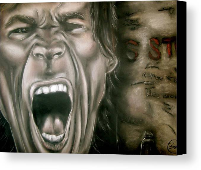 Mick Canvas Print featuring the drawing Mick Jagger by Zach Zwagil
