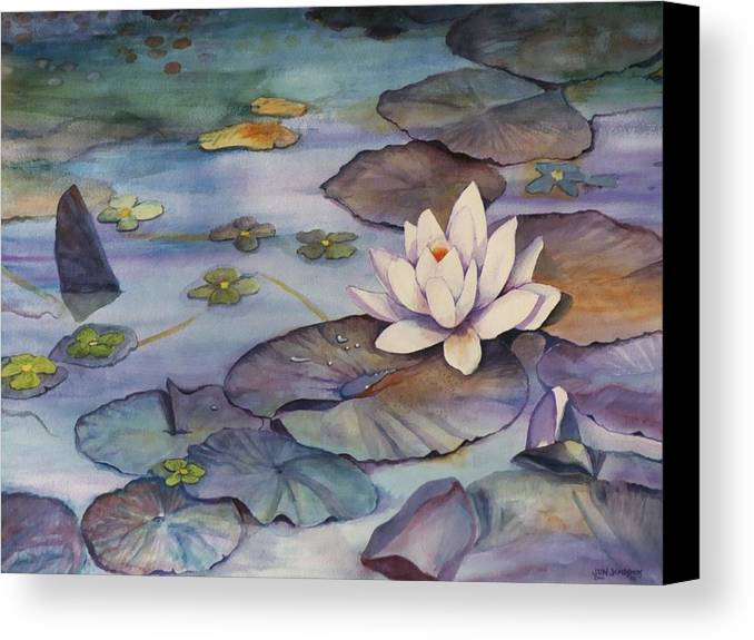 Lily Canvas Print featuring the painting Midnight Lily by Jun Jamosmos