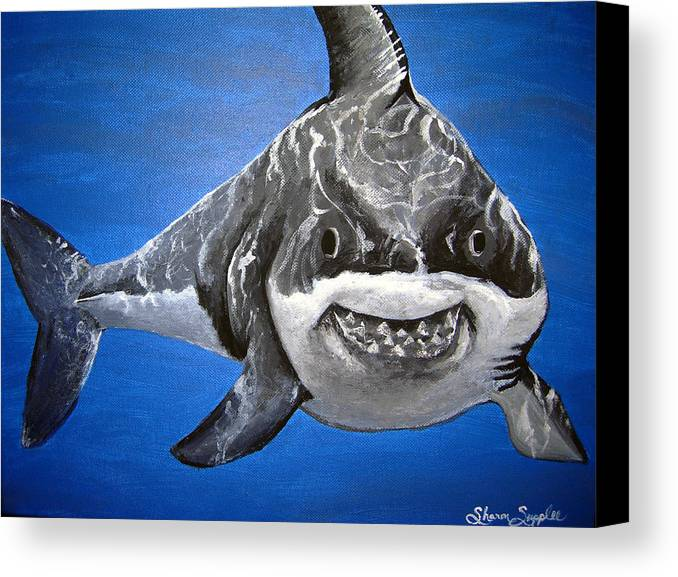 Shark Canvas Print featuring the painting Mischief by Sharon Supplee
