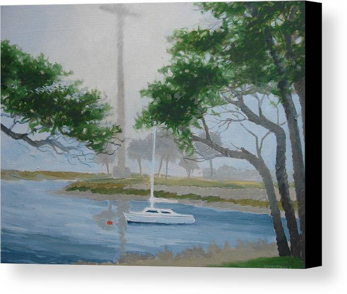 Fog Canvas Print featuring the painting Mission In Fog by Robert Rohrich