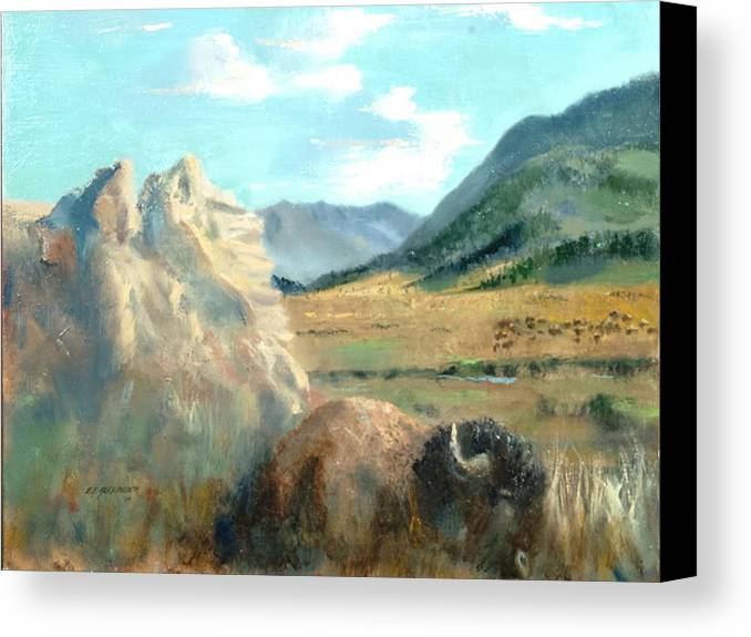 Bison Canvas Print featuring the painting Monarch Of Yellowstone by Bryan Alexander