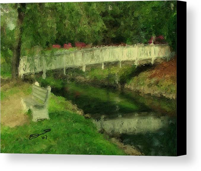 Red Water White Park Green Painting Bridge Pond Oil Bench Impressionism Monet Canvas Print featuring the painting Monet's Bridge by Eddie Durrett