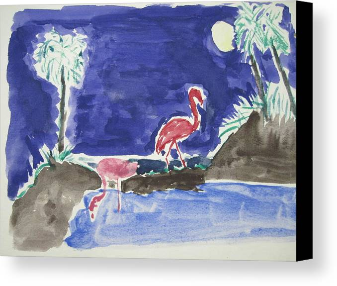Landscape Canvas Print featuring the drawing Moon Evening.flamingo. Water Color 1995 by Dr Loifer Vladimir