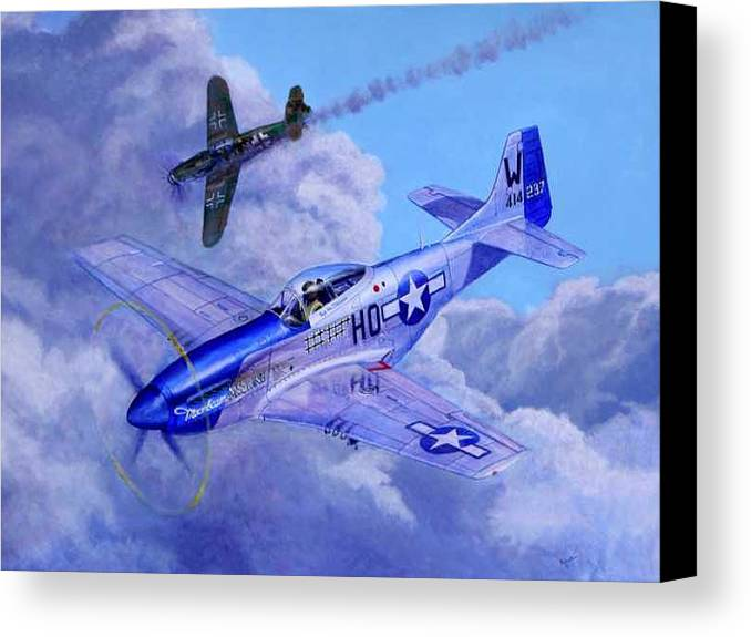 Capt Bill Wisner Shoots Down Two Bf-109s On November 2nd 1944 Canvas Print featuring the painting Moonbeam Mcswine by Scott Robertson