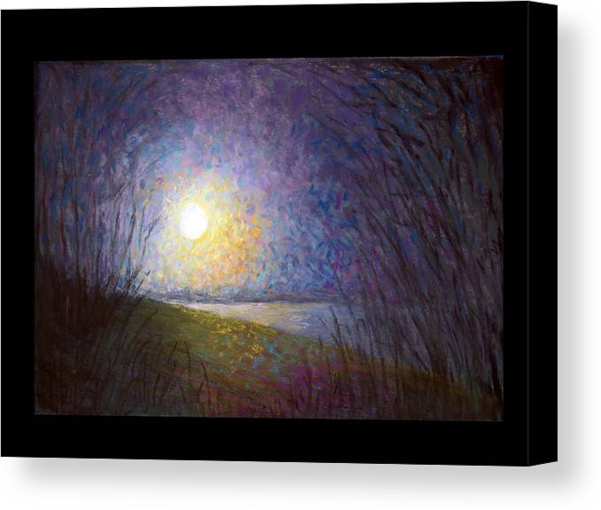 Landscape Canvas Print featuring the painting Moonlight Lake by Susan Jenkins
