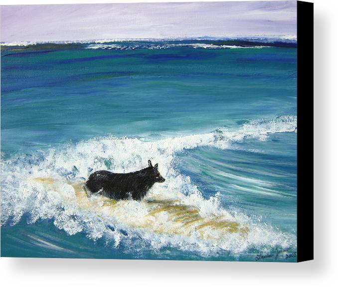 Surf Canvas Print featuring the painting Moonlight Surfer Girl. by Laura Johnson