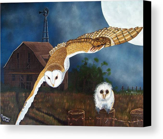 Owl Canvas Print featuring the painting Moonlit Flight by Debbie LaFrance