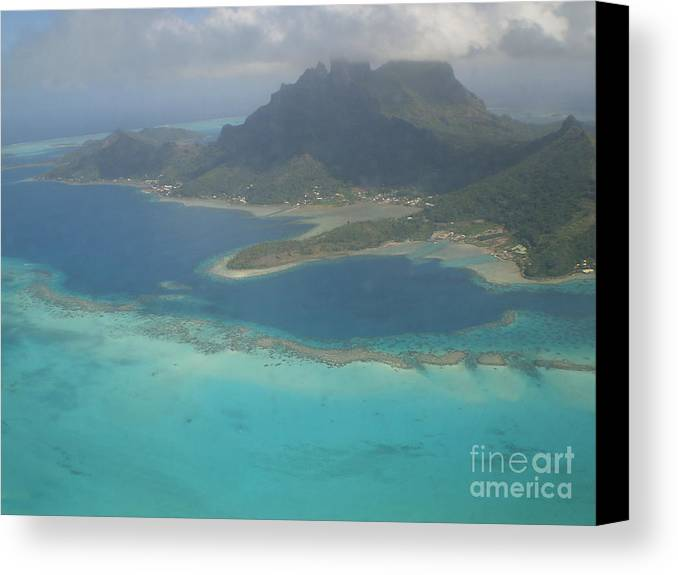 Moorea Island From The Air Canvas Print featuring the photograph Moorea Island From The Air by Paul Jessop