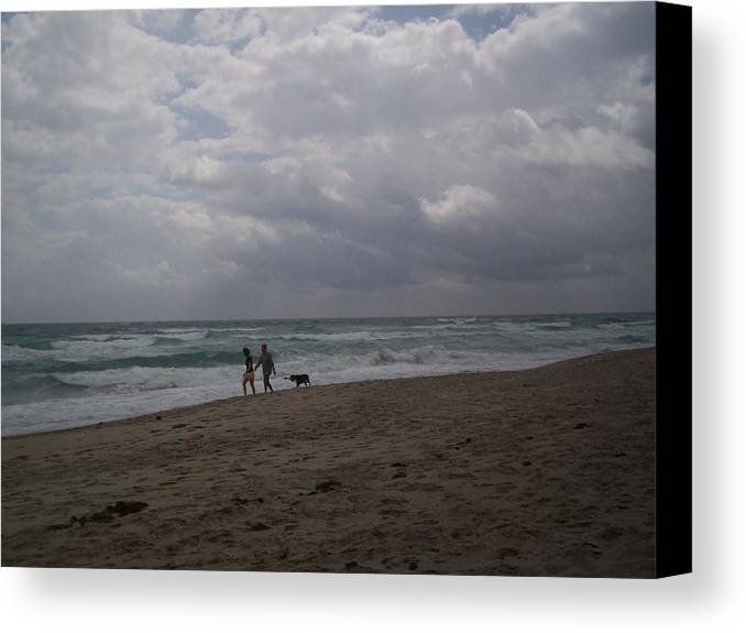 Morning Canvas Print featuring the photograph Morning Beach Walk by Karen Thompson