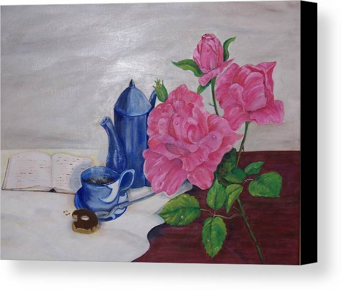 Still Life Canvas Print featuring the painting Morning Coffee by Penny Everhart