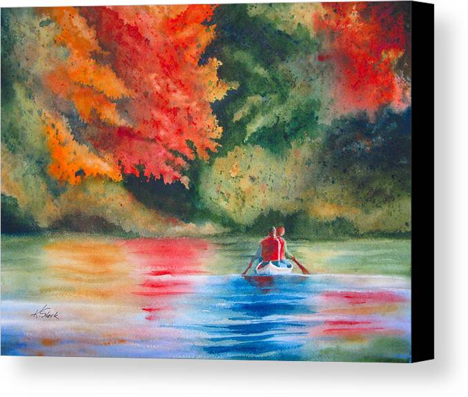 Lake Canvas Print featuring the painting Morning On The Lake by Karen Stark