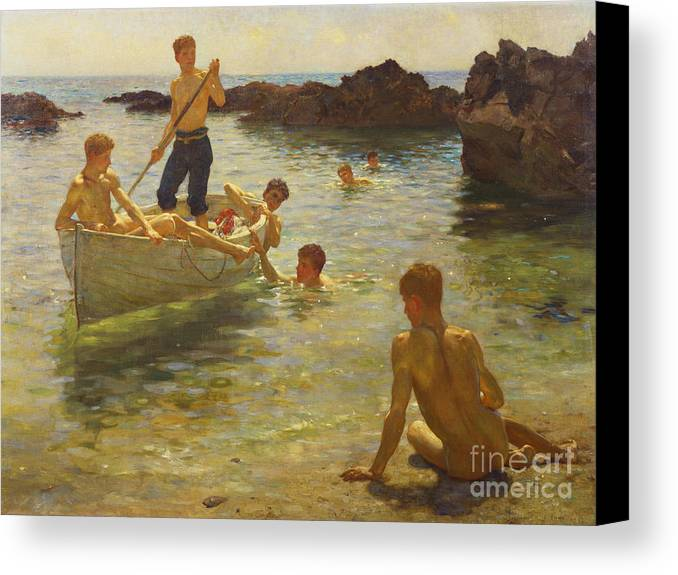 Swimming Canvas Print featuring the painting Morning Splendour by Henry Scott Tuke