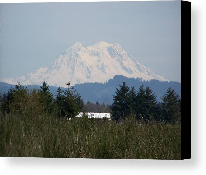 Digital Photography Canvas Print featuring the photograph Mount Rainier Again by Laurie Kidd