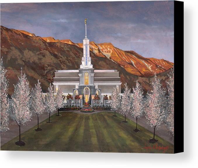 Temple Canvas Print featuring the painting Mount Timpanogos Temple by Jeff Brimley
