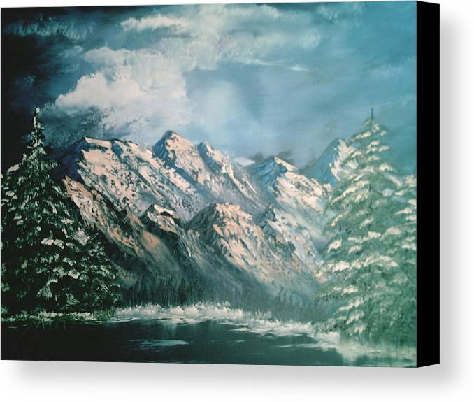 Mountain Landscapes Canvas Print featuring the painting Mountain Lake by Jim Saltis