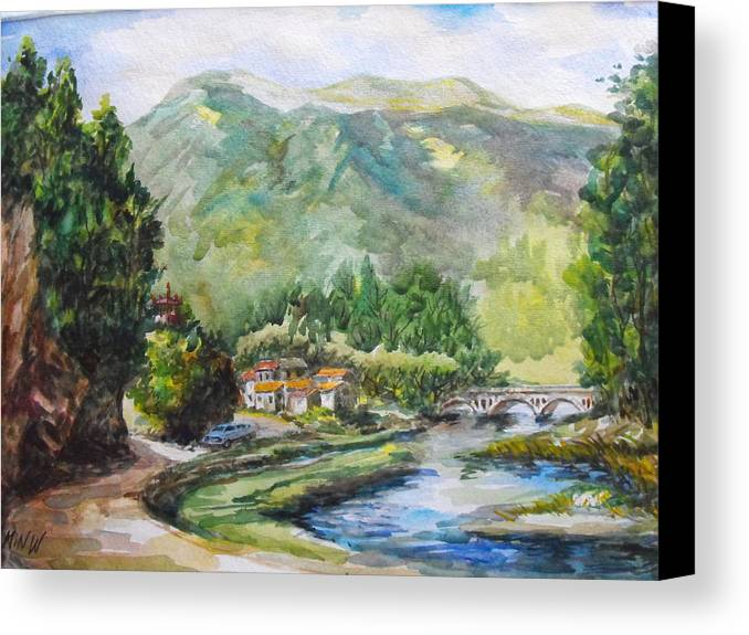 Water Color Painting Canvas Print featuring the painting Mountain Retreat by Min Wang