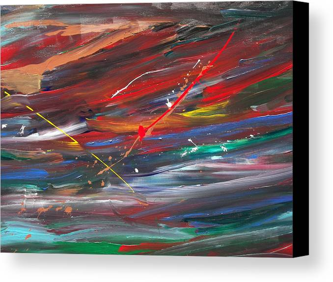 Colors In Motion. Canvas Print featuring the painting Movements by Rivka Waas