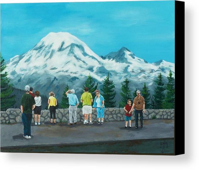 Landscape Canvas Print featuring the painting Mt. Rainier Tourists by Gene Ritchhart