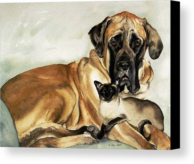 Portrait Canvas Print featuring the painting Murphy And Cody by Eileen Hale