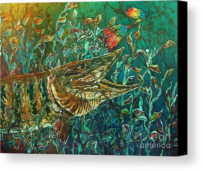 Batik Canvas Print featuring the tapestry - textile Musky- Chasin by Sue Duda