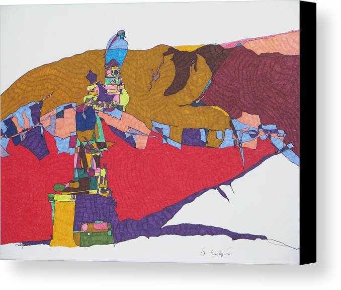 Abstract Landscape Canvas Print featuring the mixed media Mustang Tibetan Hawk And Prayer Flags by James SheppardIII