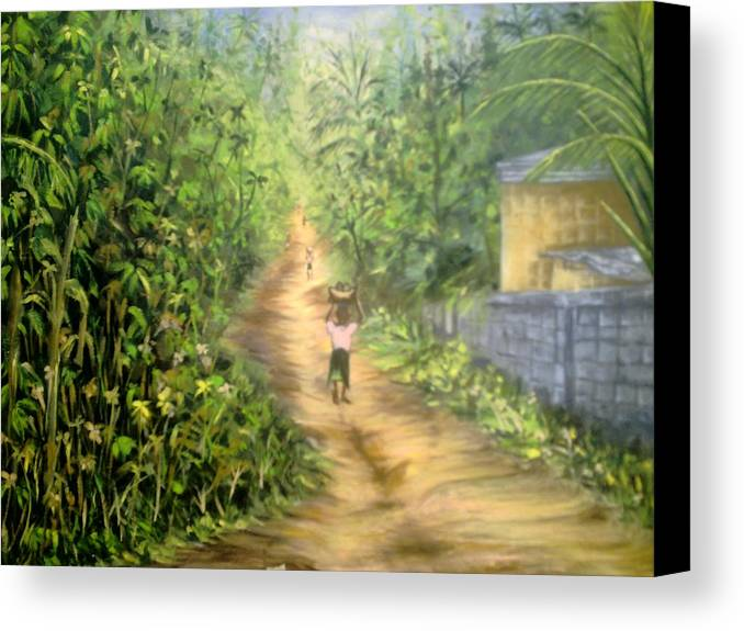 Culture Canvas Print featuring the painting My Village by Olaoluwa Smith
