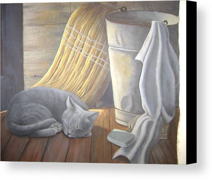 Still-life. Cat Canvas Print featuring the painting Naptime by Judy Keefer