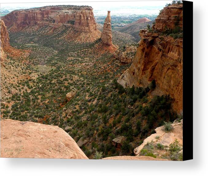 National Monument Colorado Mountains Southwest Rock Formations Hoodoos Landscapes  Canvas Print featuring the photograph National Monument Colorado by George Tuffy