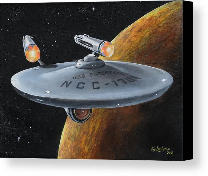 Star Trek Canvas Print featuring the painting Ncc-1701 by Kim Lockman