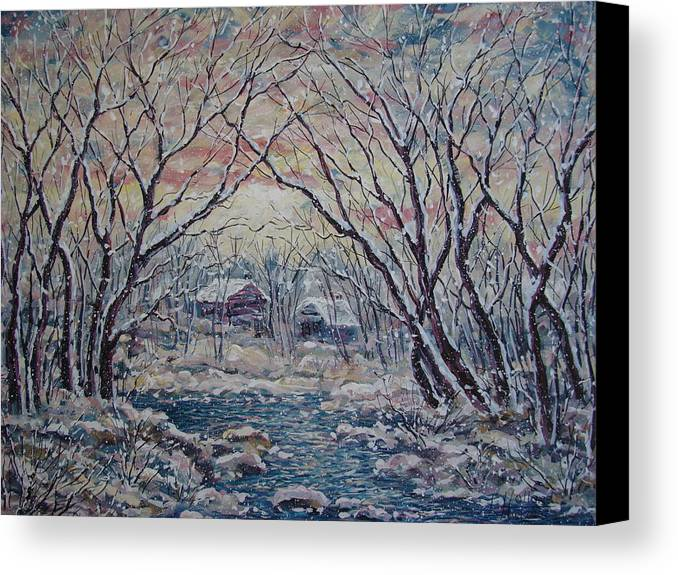 Landscape Canvas Print featuring the painting Neighbors. by Leonard Holland