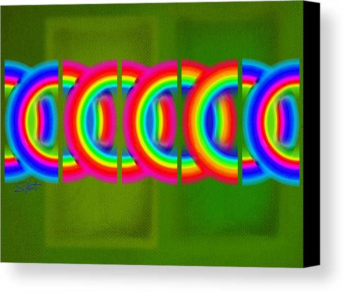 Abstract Canvas Print featuring the painting Neon Chain by Charles Stuart
