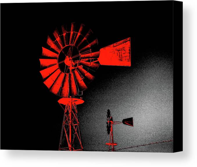Windmill Canvas Print featuring the digital art Nightwatch by Wendy J St Christopher