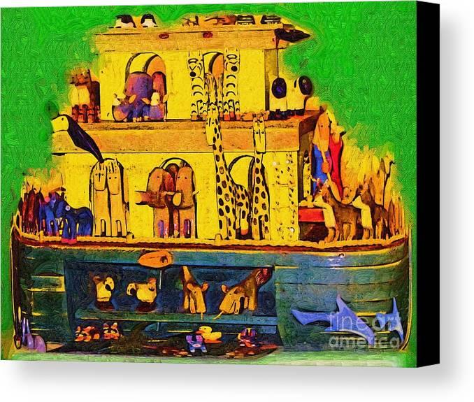 Noahs Ark Canvas Print featuring the painting Noahs Ark From My Point by Deborah Selib-Haig DMacq