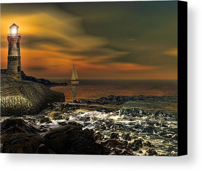 Lighthouse Canvas Print featuring the photograph Nocturnal Tranquility by Lourry Legarde