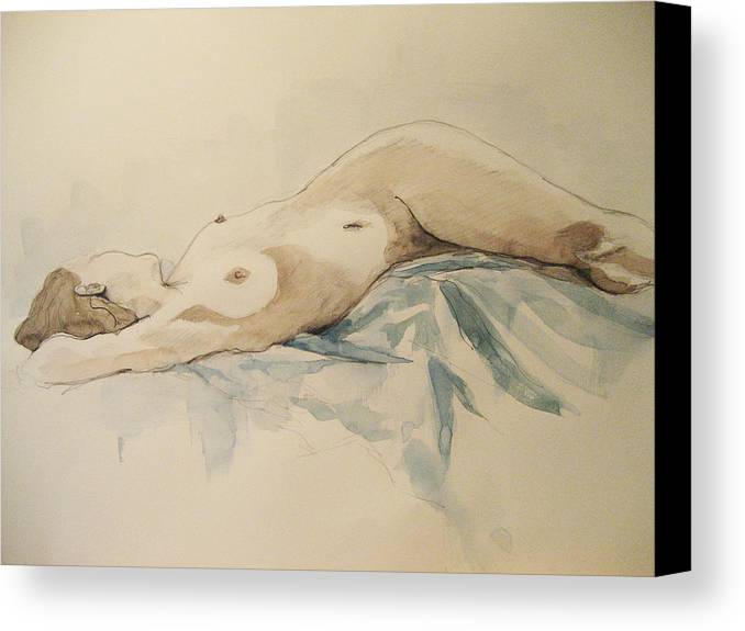 Nude Canvas Print featuring the painting Nude 9 by Victoria Heryet